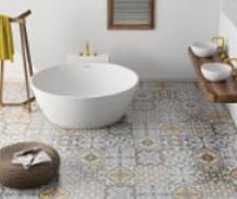 Baignoire ilot ronde et meuble double vasques
