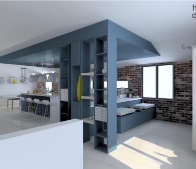Cuisiniste finistere avec bureau d'étude, projet en 3D.