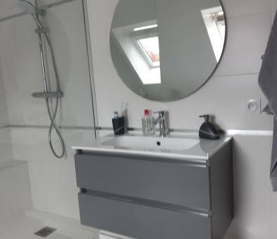 meuble laqué gris simple vasque et miroir rond